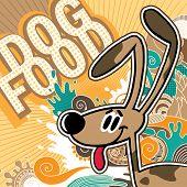 Illustrated comic dog food background. Vector illustration. poster