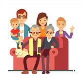 Cartoon style family isolated on white background. Grandparents Day happy old couple with grandsons. Grandmother and grandfather, grandparent and grandson. Vector illustration poster