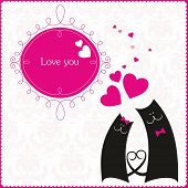 Cats in love greeting card poster
