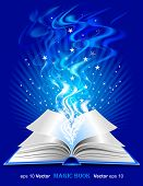 Vector magic book on blue background poster
