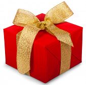 christmas gift box with a gold ribbon bow,  isolated on white background poster