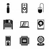 Computer setup icons set. Simple illustration of 9 computer setup icons for web poster