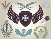 Crest and heraldry, design elements poster
