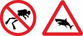 """Forbidding and Prevention Vector Signs """"No Diving"""",  """"Shark"""" poster"""