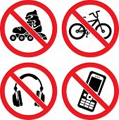 "Forbidding Vector Signs ""No Roller-skate"", ""No Earphones"", ""No Video"" and ""No Phone"" poster"