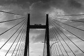 Cables of Vidyasagar Setu (Bridge) over river Ganges- known as 2nd Hooghly Bridge in Kolkata,West Bengal,India. Connects Howrah and Kolkata, Longest Cable - stayed bridge in India. B&W image. poster
