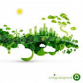 green eco town - abstract ecology town illustration poster