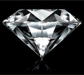 Realistic diamond illustration on black background - vector, no gradient mesh