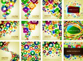 Colorful Shiny Background Set