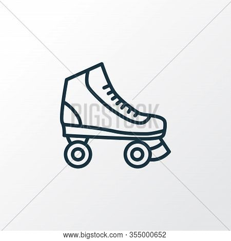 Roller Skate Icon Line Symbol. Premium Quality Isolated Rollerskating Element In Trendy Style.