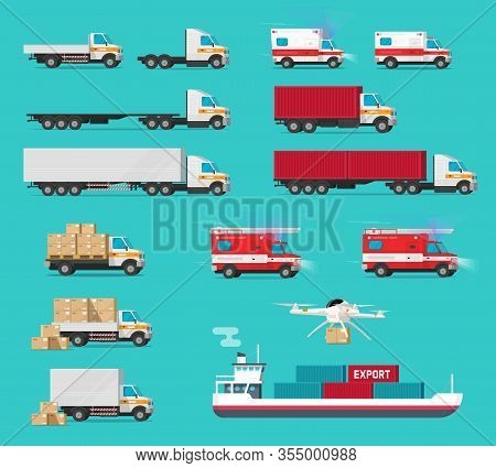 Delivery Transportation Cargo Vehicles Set Or Freight Transport Automobiles And Ship Vessel Shipping