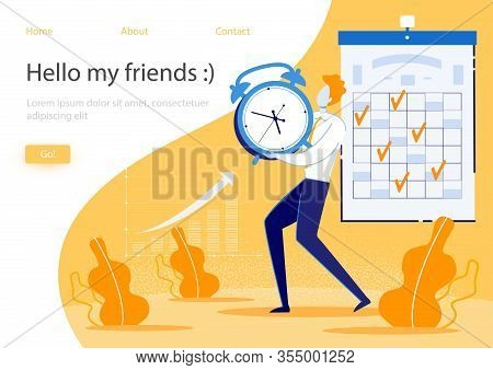 Bright Banner Inscription Hello My Friends, Flat. Completed Tasks Are Marked On Calendar, Growth Ind
