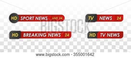 Television Broadcast Media Title Banner. Live Television Broadcast, Streaming Show. Tv News Bar. Spo
