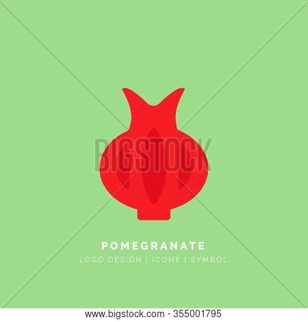 Red Pomegranate Logo On Green Background. Pomegranate Fruit Flat Vector Icon For Food Apps And Websi