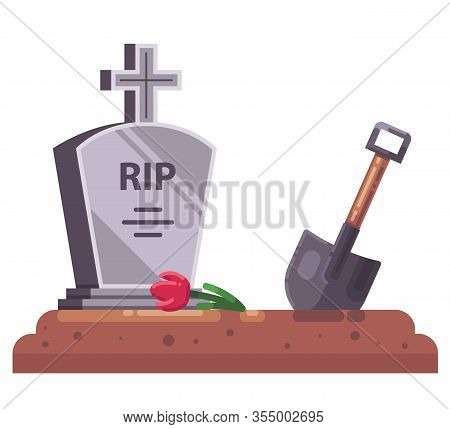 Fresh Grave With Stove And Christian Cross. Dig A Shovel. Flat Vector Illustration.