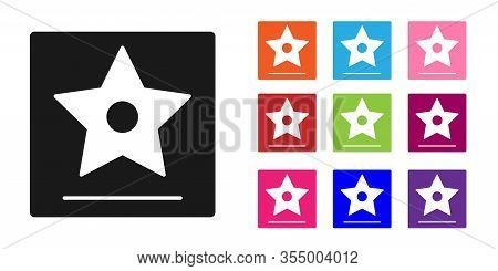 Black Hollywood Walk Of Fame Star On Celebrity Boulevard Icon Isolated On White Background. Famous S