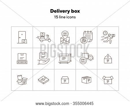 Delivery Box Icons. Set Of Line Icons. Home Delivery, Scooter, Open Box. Delivery Service Concept. V