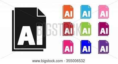 Black Ai File Document. Download Ai Button Icon Isolated On White Background. Ai File Symbol. Set Ic
