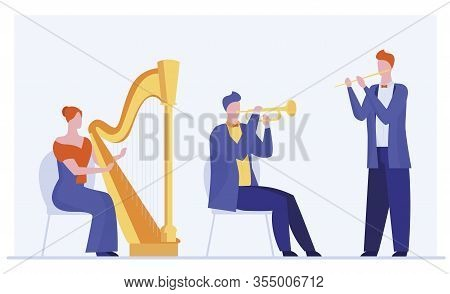 Mini Orchestra Playing Classical Music. Musicians With Harp, Flute, Trumpet Flat Vector Illustration