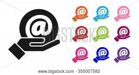 Black Mail And E-mail In Hand Icon Isolated On White Background. Envelope Symbol E-mail. Email Messa