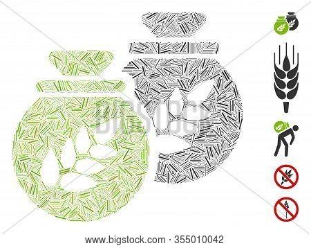 Line Mosaic Based On Grain Harvest Sacks Icon. Mosaic Vector Grain Harvest Sacks Is Formed With Rand