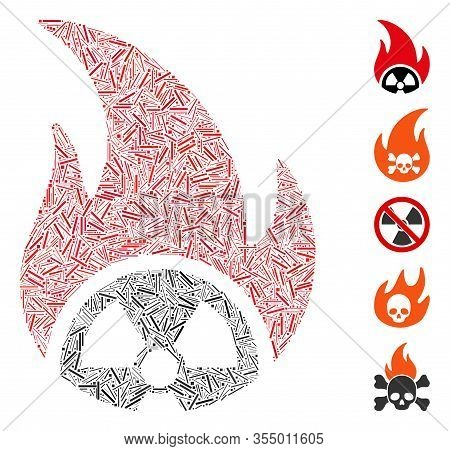 Line Mosaic Based On Atomic Fire Icon. Mosaic Vector Atomic Fire Is Created With Scattered Line Item