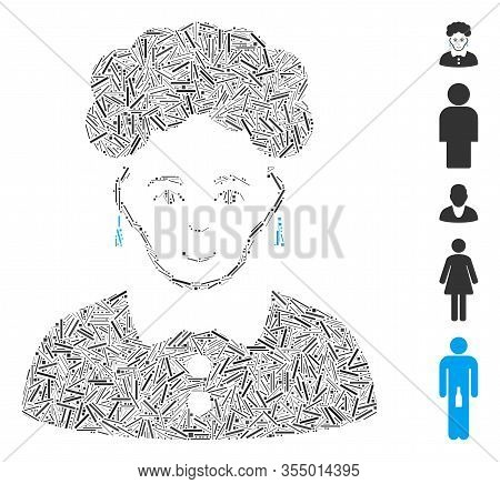 Hatch Mosaic Based On Brunette Woman Icon. Mosaic Vector Brunette Woman Is Formed With Scattered Hat
