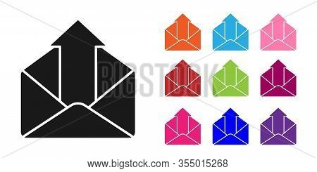 Black Outgoing Mail Icon Isolated On White Background. Envelope Symbol. Outgoing Message Sign. Mail