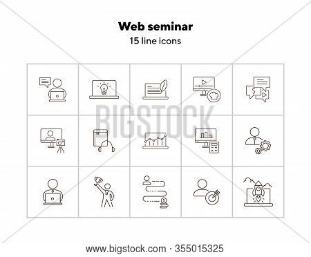 Web Seminar Line Icon Set. Computer, Achievement, Webinar. Self-development Concept. Can Be Used For