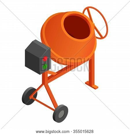 Concrete Mixer Icon. Isometric Of Concrete Mixer Vector Icon For Web Design Isolated On White Backgr