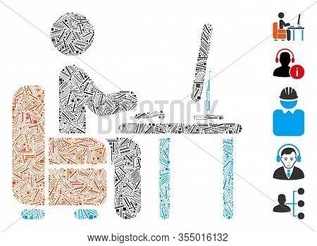 Line Mosaic Based On Boss Desk Icon. Mosaic Vector Boss Desk Is Designed With Random Line Spots. Bon