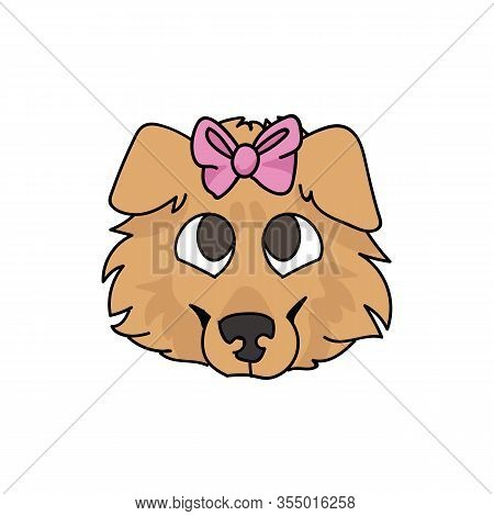 Cute Cartoon Rough Collie Puppy Dog Face With Pink Bow Vector Clipart. Pedigree Kennel Sheepdog For
