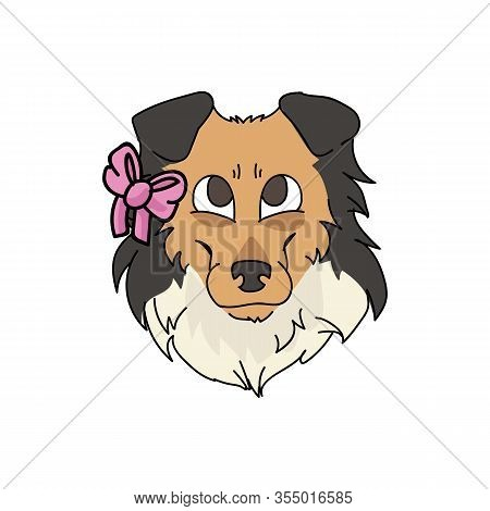 Cute Cartoon Rough Collie Dog Face With Pink Bow Vector Clipart. Pedigree Kennel Sheepdog For Dog Lo