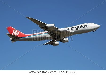 Findel - Luxembourg / July 8, 2018: Cargolux Boeing 747-8 Jumbo Jet Lx-vcg Cargo Plane Departure At