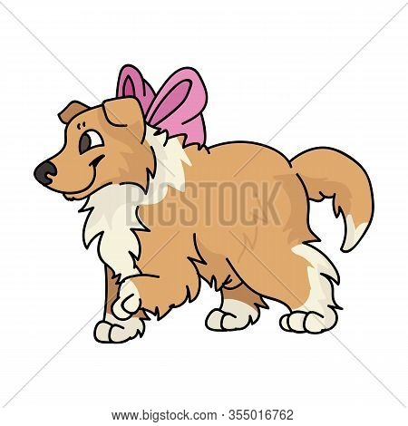 Cute Cartoon Rough Collie Puppy Dog With Pink Bow Vector Clipart. Pedigree Kennel Sheepdog For Dog L