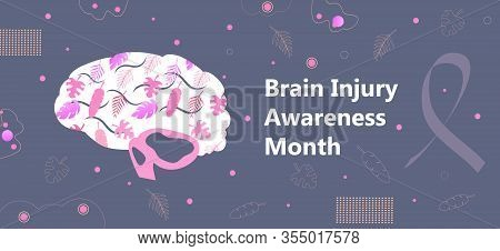 Brain Injury Awareness Month In March. Neurology Healthcare, Dementia, Alzheimer Metaphor. Anatomica