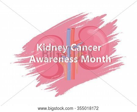 Kidney Cancer Awareness Month In March. Pyelonephritis, Diseases And Kidney Stones, Cystitis Vector.