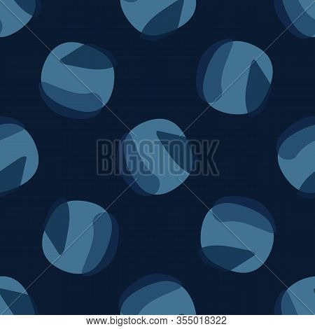 Dark Classic Blue Tossed Polka Dot Vector Texture Seamless Pattern. Variegated Soft Blended Geo Dyed