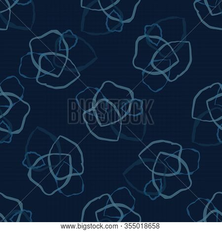 Dark Classic Blue Scribble Shape Vector Texture. Seamless Abstract Dot Pattern. Variegated Playfull