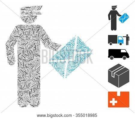 Hatch Mosaic Based On Postman Icon. Mosaic Vector Postman Is Created With Random Hatch Spots. Bonus