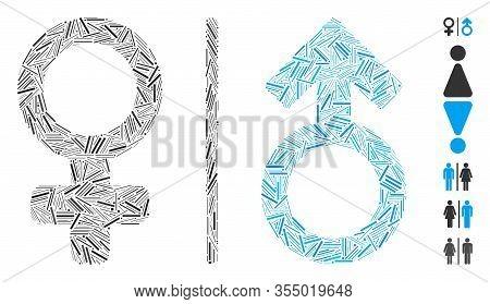 Line Mosaic Based On Wc Gender Symbols Icon. Mosaic Vector Wc Gender Symbols Is Composed With Scatte