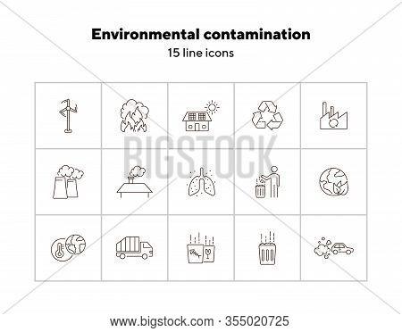 Environmental Contamination Icons Set. Air Pollution, Planet Contamination, Greenhouse Effect. Envir