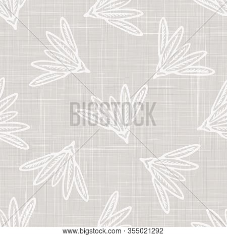 Gray French Linen Texture Background Printed With White Daisy Flourish. Natural Ecru Summer Country