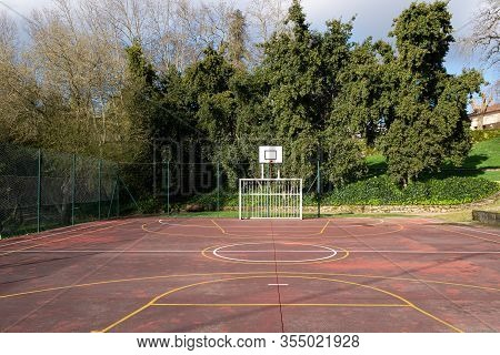 Outdoor Sport Game Court On Public Park. Amateur Sport Concept. Copy Space