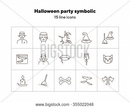 Halloween Party Symbolic Line Icons. Sweeping Broom, Frankenstein, Witch. Halloween Concept. Vector