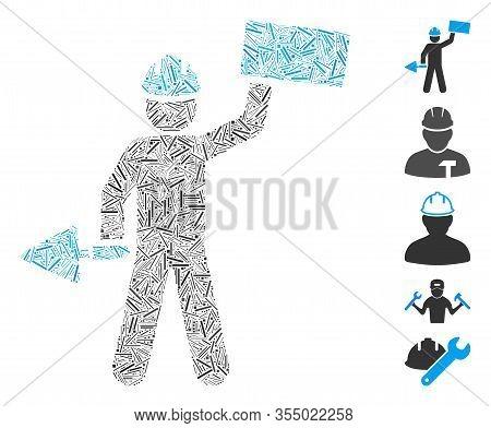 Line Mosaic Based On Brickwork Builder Icon. Mosaic Vector Brickwork Builder Is Formed With Scattere