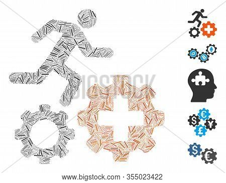 Hatch Mosaic Based On Runner Treatment Process Gears Icon. Mosaic Vector Runner Treatment Process Ge