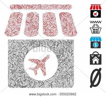 Line Mosaic Based On Duty Free Shop Icon. Mosaic Vector Duty Free Shop Is Designed With Scattered Li