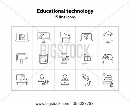 Educational Technology Line Icon Set. Computer, Online Class, Lection. Webinar Concept. Can Be Used