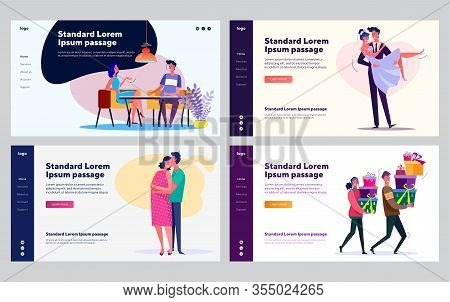 Couple Relationship Development Set. Young Man And Woman Dating, Getting Married, Pregnant. Flat Vec